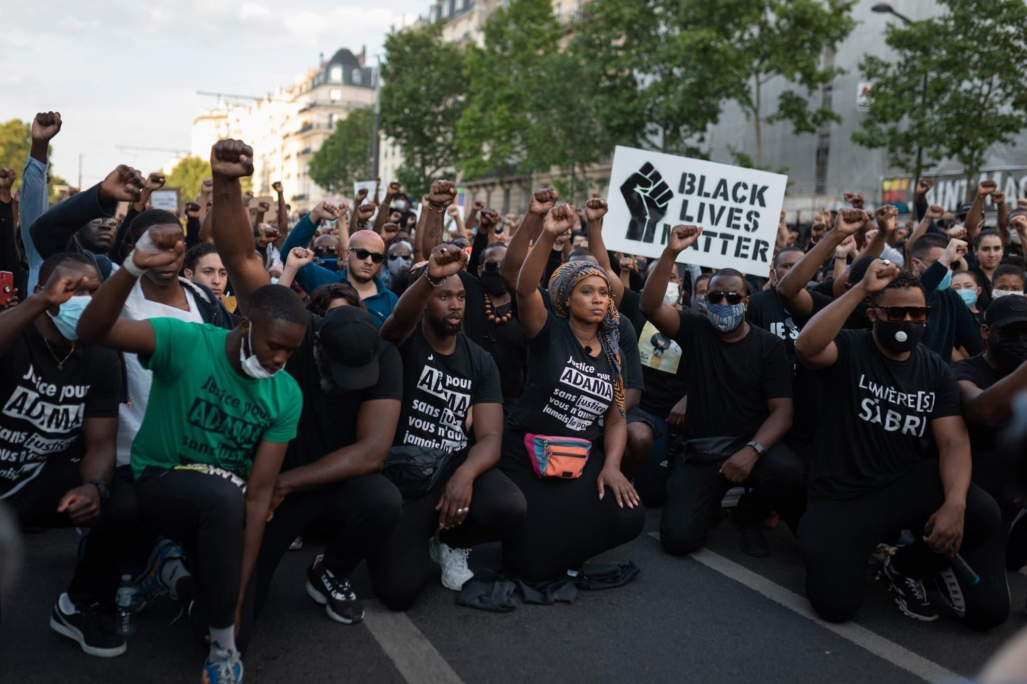 Assa Traore, the sister of Adama Traore addressing a 20,000-strong demonstration in Paris, France demanding justice for her brother, murdered by police and in support of the Black Lives Matter protests in the US last week