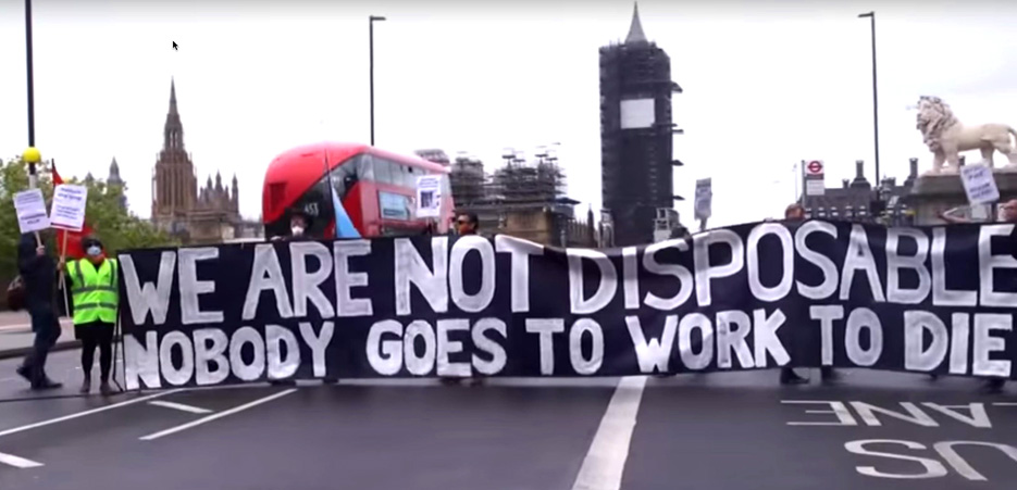 Hospital workers blocking Westminster Bridge in London, England on May 1st over lack of PPE