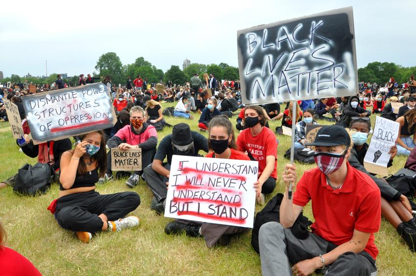Anti-racist demonstrators in Hyde Park, London, England