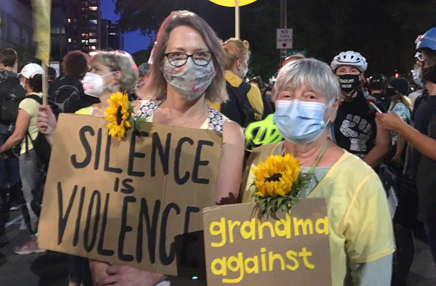 Grandmothers joined the 'Wall of Moms' on the demonstrations in Portland, Oregon, USA