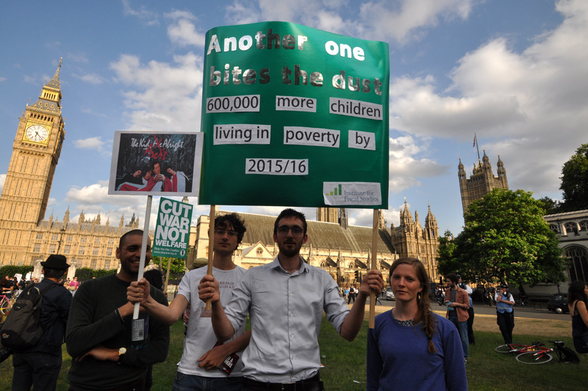 Demonstration outside parliament in London, England demanding an end to child poverty which is continuing to rise under the Tory government